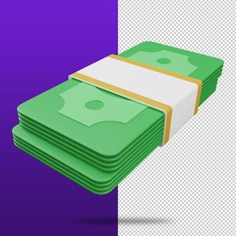 Representación 3d del concepto de ahorro de dinero de icono de efectivo de paquetes