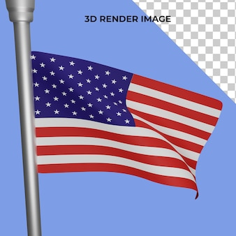 Representación 3d del concepto de día de la independencia de la bandera americana