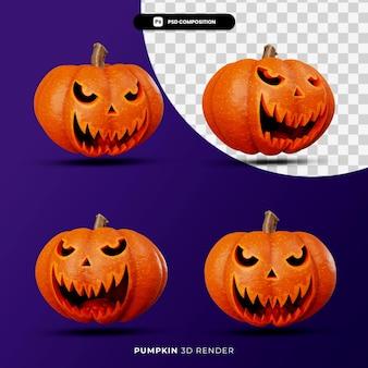 Representación 3d del concepto de halloween jack pumpkins con ángulo diferente aislado