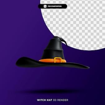 Representación 3d del concepto de halloween de sombrero de bruja aislado