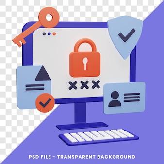 Representación 3d del concepto de seguridad cibernética simple con aislado