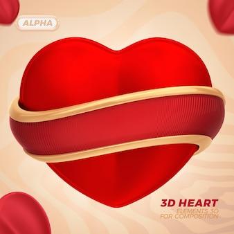 Representación 3d del corazón para composición premium psd