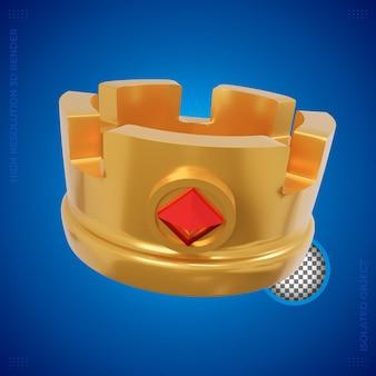 Representación 3d de la corona del rey de oro