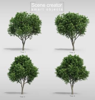 Representación 3d del creador de la escena del árbol de zanahoria
