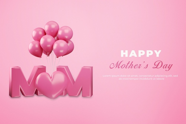 Representación 3d del día de la madre feliz