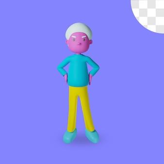 Representación 3d del diseño enojado masculino aislado