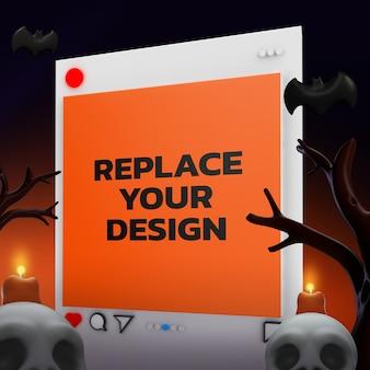 Representación 3d de diseño de maqueta de tamaño cuadrado de socail media