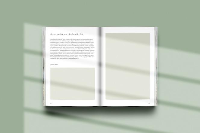 Representación 3d con efecto de sombra en maqueta de libro