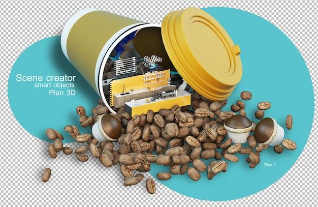 Representación 3d de elementos de cafetería y granos de café.