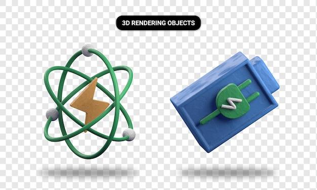Representación 3d de energía atómica y batería de carga.