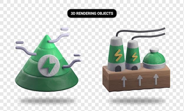 Representación 3d de energía piramidal y energía geotermal.