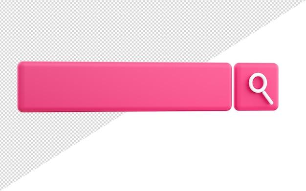 Representación 3d del fondo de la barra de búsqueda en blanco mínima