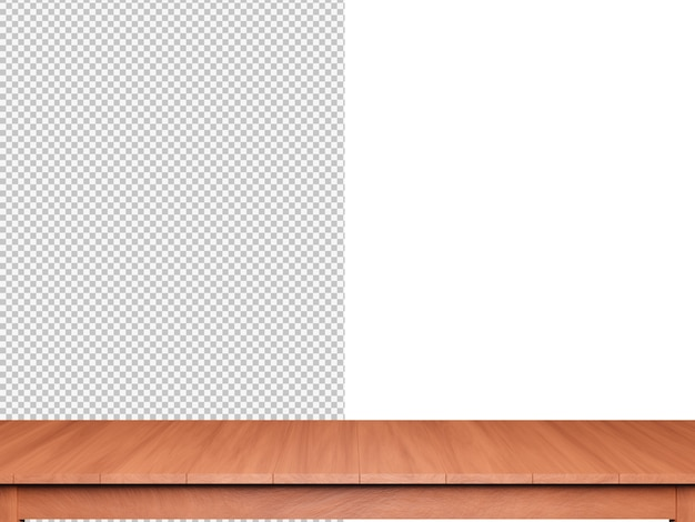 Representación 3d de fondo de mesa de madera aislada