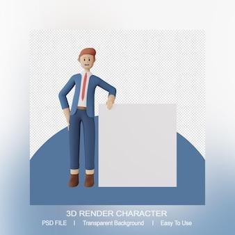 Representación 3d del hombre de pie apoyado en una presentación en blanco