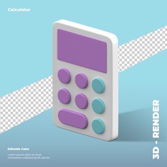 Representación 3d del icono de la calculadora aislada