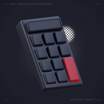 Representación 3d icono de calculadora negra en modo oscuro