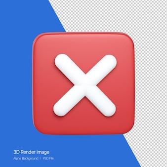 Representación 3d del icono de cierre x signo aislado en blanco.