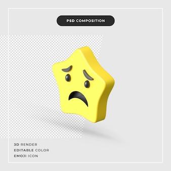 Representación 3d icono de emoji estrella aislado