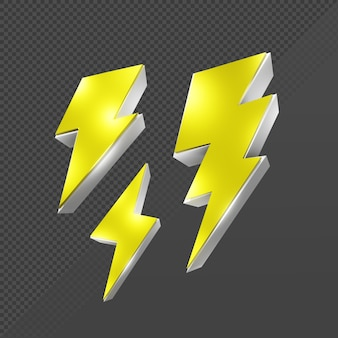 Representación 3d icono de flash de rayo eléctrico brillante vista en perspectiva de color amarillo