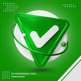 Representación 3d del icono de marca de verificación verde