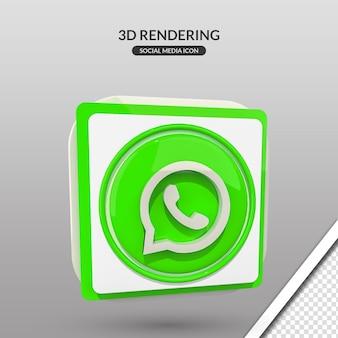 Representación 3d icono de redes sociales de whatsapp
