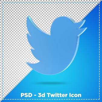 Representación 3d del icono de twitter aislado