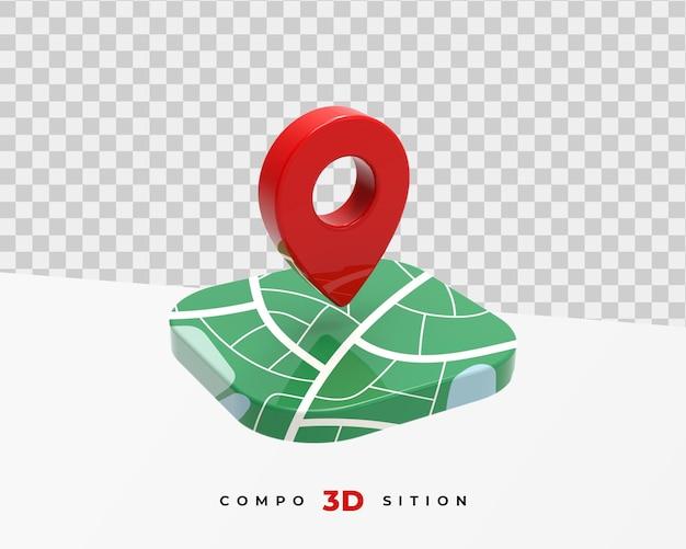 Representación 3d del icono de ubicación