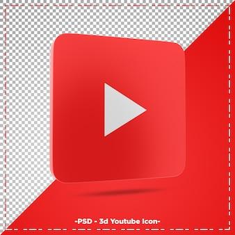 Representación 3d del icono de youtube aislado