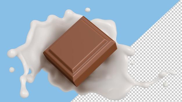 Representación 3d de la ilustración 3d del chocolate del chapoteo de la leche