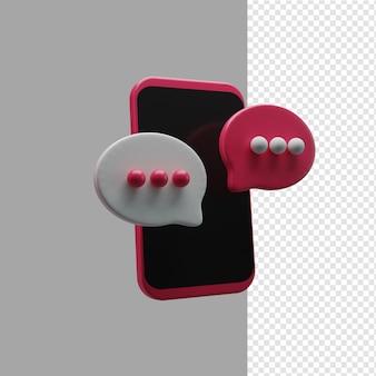 Representación 3d de la ilustración del chat del teléfono y de la burbuja