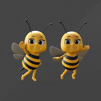 Representación 3d lindo personaje de abeja feliz color amarillo negro mirando a la cámara angl