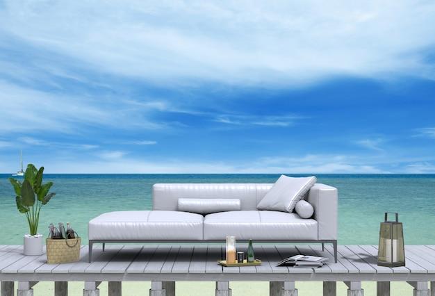 Representación 3d del lounge de la playa