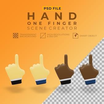 Representación 3d de la mano con un dedo para el creador de escenas