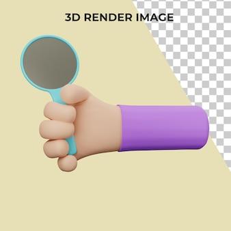 Representación 3d de la mano que sostiene una lupa psd premium