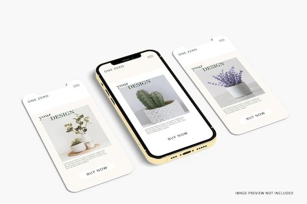 Representación 3d de la maqueta de la aplicación de la pantalla del teléfono