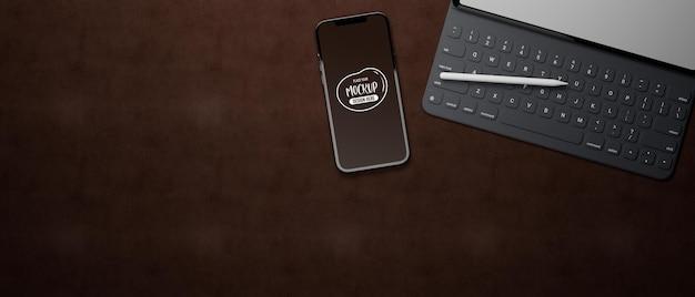 Representación 3d de maqueta de computadora portátil y teléfono inteligente