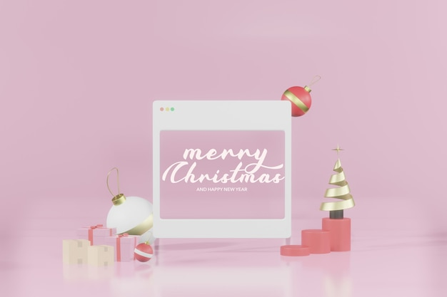 Representación 3d maqueta de marco de internet vacío de navidad