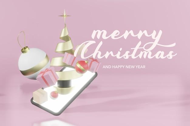 Representación 3d maqueta de podio de navidad online