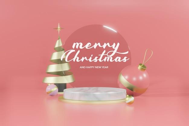 Representación 3d maqueta de podio vacío de navidad