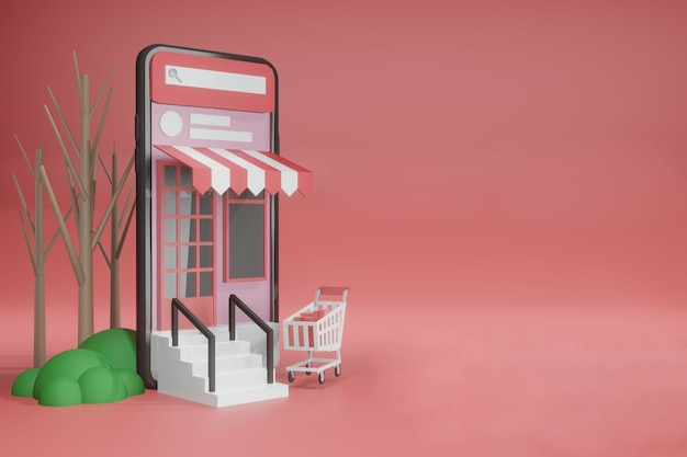 Representación 3d maqueta de teléfono en línea de plantilla de espacio vacío para colocación de productos