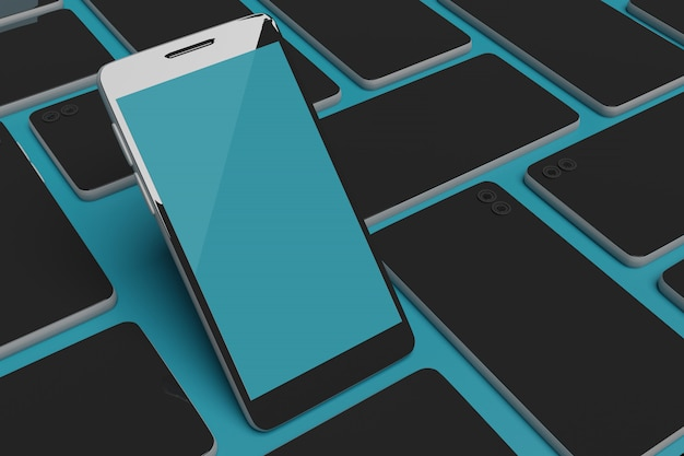 Representación 3d de maqueta de teléfono móvil para publicidad de scene creator