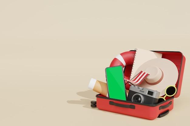 Representación 3d de maqueta de teléfono móvil para scene creator en tema de publicidad de vacaciones de verano