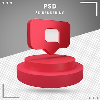 Representación 3d mensaje de logotipo girado instagram
