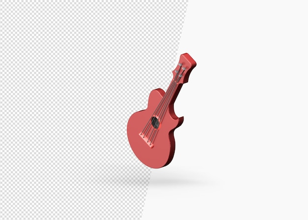 Representación 3d modelo de guitarra acústica clásica.