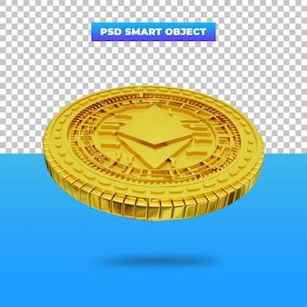 Representación 3d moneda digital golden ethereum