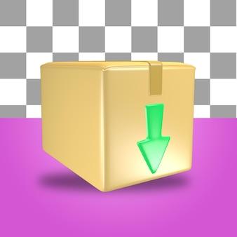 Representación 3d del objeto de icono de caja de paquete de cartón con flecha verde