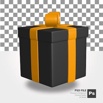 Representación 3d del objeto de regalo negro con cinta naranja para el evento de venta de viernes negro