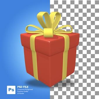 Representación 3d de objeto de regalo rojo con cinta amarilla para navidad