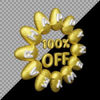 Representación 3d de la oferta de año nuevo con un 100 por ciento de descuento en globos de oro.