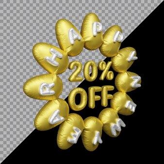 Representación 3d de la oferta de año nuevo con un 20 por ciento de descuento en globos de oro.
